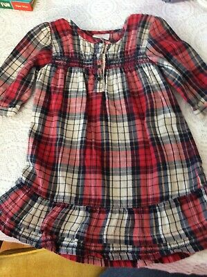 Next UK Toddler Girl Age 1.5- 2 yr Red and Navy Dress w Smocking Cotton Flannel
