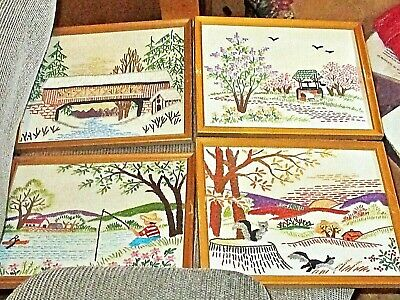 Set of 4 Vintage 60s Embroidery Needlepoint /Cross Stitch Pictures - 4 Seasons