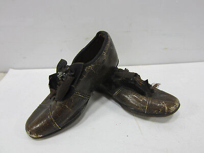 Antique Pair of Victorian Child's Leather Shoes w/Bows