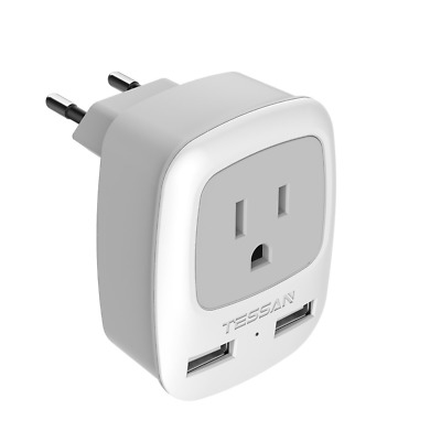 European Travel Plug Adapter, TESSAN International Power Plug with 2 USB, Outlet