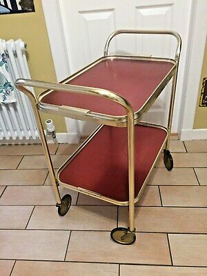 Beautiful Rose Red & Gold 2 Tier Vintage Hostess Trolley - Lovely Condition
