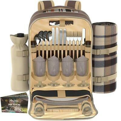Picnic Backpack Set For 4 | Luxury Gift Collection | Basket Bag