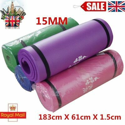 Yoga Mat Exercise Fitness Workout Physio Pilates Extra Gym 15mm Thick Non Slip