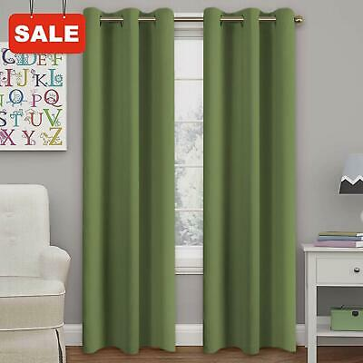 Bedroom Blackout Plain Fully Lined Soft Curtain Eyelet Ring Tie Olive Green