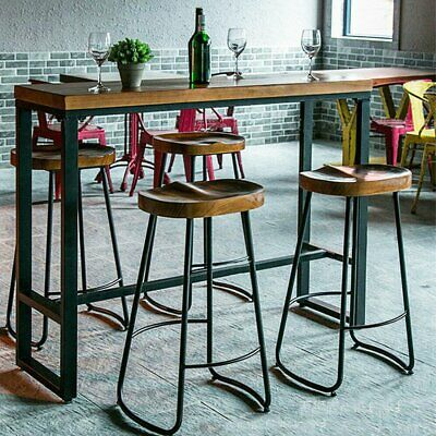 2PCS Industrial Vintage Bar Stool Metal Wooden Retro Seat Kitchen Pub High Chair