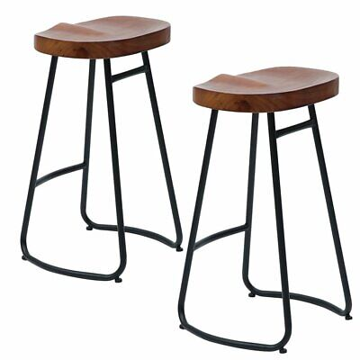 Set of 2 Industrial Bar Stools Kitchen Breakfast High Chair Wood Pub Seat Rustic