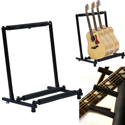 Stable 3 Way Multi Guitar Stand Foldable Acoustic Electric Bass Guitar Rack