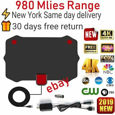 [980 Miles] Clear Indoor Digital TV HDTV Antenna [2019 Latest] UHF/VHF/1080p 4K.