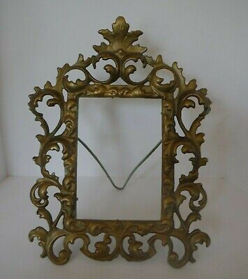 Antique Cast Iron Gilded Gold Ornate Victorian Standing Frame - no glass