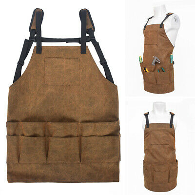 Unisex Heavy Duty Waxed Canvas Work Apron With Pockets Adjustable Shop Apron 1x