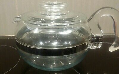 Vintage PYREX GLASS Flameware TEA POT Stove Top 6 Cup Size Teapot Heatproof