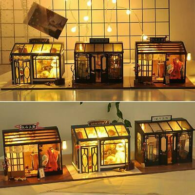 Doll House Miniature DIY Kit Dollhouse Cottage Furniture LED Lights Children Toy