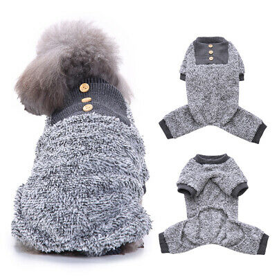 Soft Fleece Dog Pajamas Jumpsuit Winter Warm Small Puppy Dog Clothes Sleepwear
