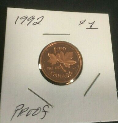 1992 Proof Canada 1 cent, High quality Canadian pennies-Beautiful Details.