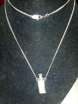 "Vintage Sterling Silver Perfume Bottle Necklace On 20"" Inch Sterling Chain"
