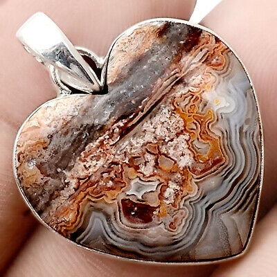 Heart - Crazy Lace Agate 925 Sterling Silver Handmade Pendant Jewelry SDP50981