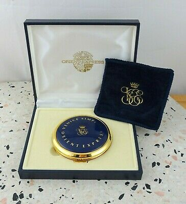 Vintage Venice Simplon Orient Express Powder Compact Mirror in Box with Pouch