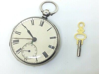 Superb Antique Victorian Solid Silver Fusee Pocket Watch Albert Chain Fob London