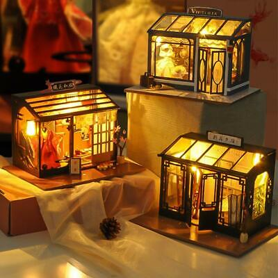 DIY Wooden Toy Retro Shop Doll House Miniature Kit Dollhouse Store LED Lights