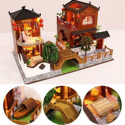 DIY Wooden Doll House Miniature Kit Ancient Architecture Dollhouse Toy Gifts Q