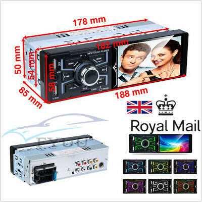 """UK Stock 4.1""""Touch Screen Autos MP5 Radio Player AM FM BT RDS 7 Color Backlight"""