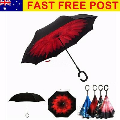 Women Windproof Big Double Layer Reverse Upside Down Inside Inverted Umbrella