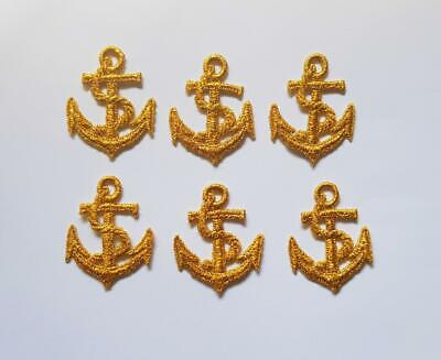 6 Gold Embroidered Boat Anchor Applique - Patch  - EB3