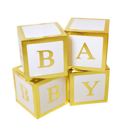 4Pc Gold Print Baby Shower Party Decorations Letter BABY Hard Card Cube Boxes