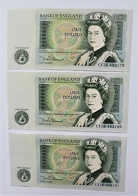 Bank of England £1 notes 3-off UNC D Somerset 1980-88 consecutive nos