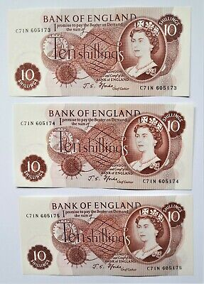 Bank of England 10 shilling notes 3-off UNC J S Fforde 1966-70 consecutive nos