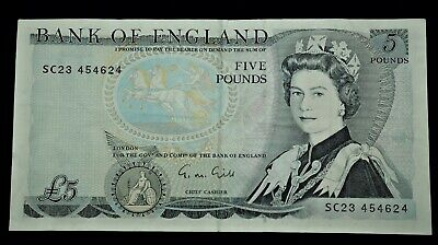 Bank of England blue £5 note M Gill 1988-91