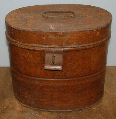 Antique Victorian Large Metal Oval Enamel Painted Steel Hat Box, Handle & Clasp