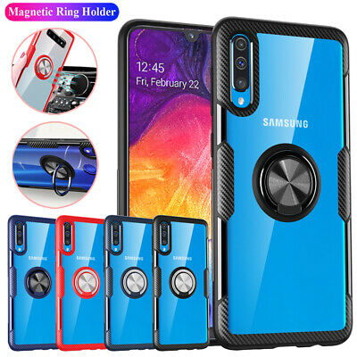 For Samsung Galaxy A50 A70 A40 Hard Shell Magnetic Ring Holder Armor Case Cover