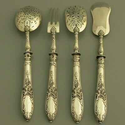 PUIFORCAT Antique French Sterling Silver Dessert Hors d'Oeuvre Serving Set 4pc