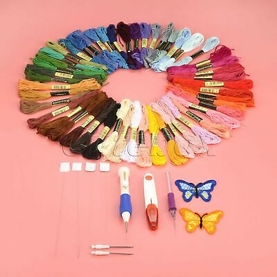 Embroidery Punching Needle Set 50 Colours Threads Stitching Pen Kit DIY Sewing