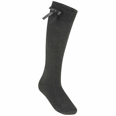 Zeco Girls Knee High Socks With Bow Cotton Rich (GS3430) Grey White Black Navy