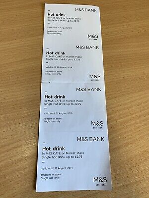M&S Hot Drink Vouchers X 4 - Worth £11 In Total. Valid until 31 Aug 2019.