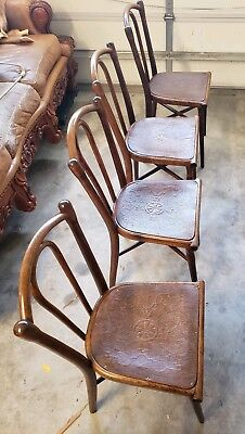 RARE Antique Thonet Embossed Bentwood Beech Side Chairs Vienna Austria(4)*SALE**