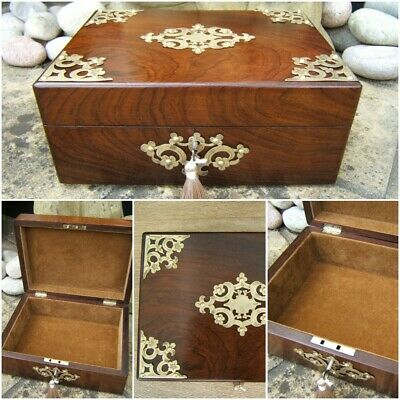 SUPERB LARGE 19c ANTIQUE ROSEWOOD DOCUMENT/JEWELLERY BOX  FAB INTERIOR