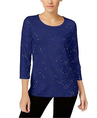 NWT JM Collection Women's Petite Embellished Jacquard Top Blouse. 86242NR477