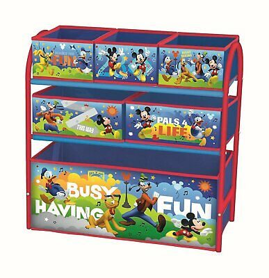 Disney Mickey Mouse Metal Multi Tray Toy Box Storage Unit Organiser Kids Bedroom
