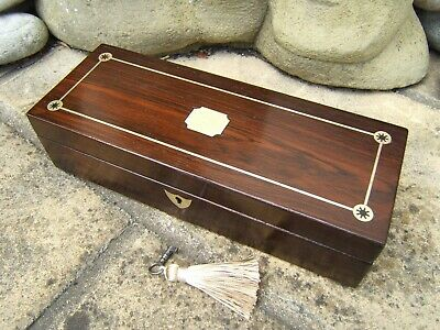 Terrific Early 19C Antique Rosewood Document/Jewellery Box - Fab Interior