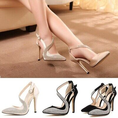 Sexy Womens Pointed Toe Buckle Ankle Strappy Sandals Ladies Party Stiletto Shoes