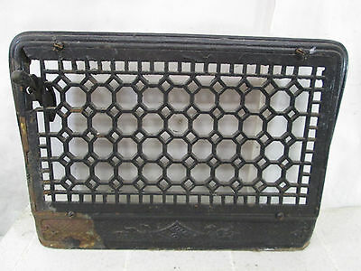 "Vintage Cast Iron Wall Grate w/Damper- Honeycomb Design 11"" x 17"" ASG#9"