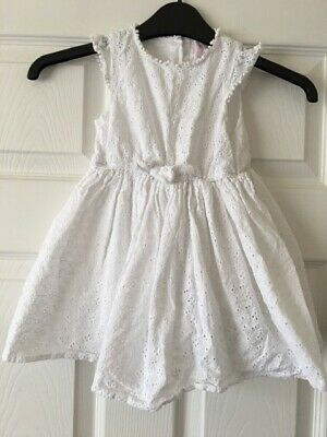Baby Girls White Casual Summer Dress 18-24 Months Young Dimensions Primark B2
