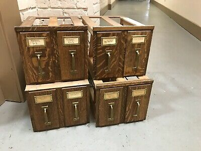 Antique Vtg 1800s MACEY Quarter Sawn Oak File Cabinets LOT 4 FREE SHIPPING