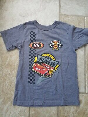 Disney Cars Boys T-shirt Size 5/6 darker Grey with Lightning McQueen patches.