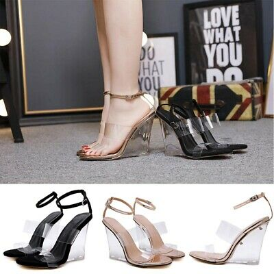 Womens Ankle Strap Clear Wedge Heels Sandals Ladies Open Toe Perspex Party Shoes
