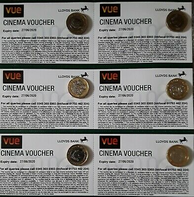 6 Vue Cinema Tickets - Expiry 28/06/2020 - Club Lloyds - emailed to you