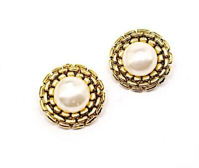 "CHANEL VINTAGE Gold Tone Round Earrings with Pearl 1.25"" round Clips 12 Grams"